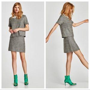 NWT. Zara Tweed Top with gems. Size S, M.